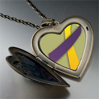 Necklace & Pendants - purple yellow ribbon awareness large heart locket pendant necklace Image.