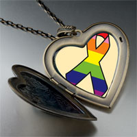 Necklace & Pendants - rainbow ribbon awareness large heart locket pendant necklace Image.