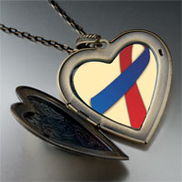 Items from KS - red blue ribbon awareness large heart locket pendant necklace Image.
