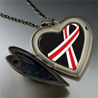 Necklace & Pendants - red white ribbon awareness large heart locket pendant necklace Image.