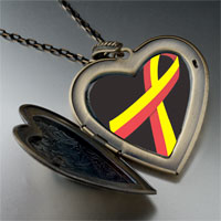 Necklace & Pendants - red yellow ribbon awareness large heart locket pendant necklace Image.