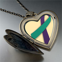 Necklace & Pendants - purple teal ribbon awareness large heart locket pendant necklace Image.