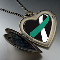 Necklace & Pendants - teal white ribbon awareness large heart locket pendant necklace Image.