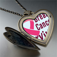 Necklace & Pendants - breast cancer survivor pink large heart locket pendant necklace Image.
