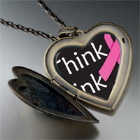 Necklace & Pendants - think pink ribbon awareness large heart locket pendant necklace Image.