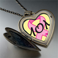 Necklace & Pendants - mom pink ribbon awareness large heart locket pendant necklace Image.