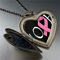 Necklace & Pendants - hope pink ribbon awareness large heart locket pendant necklace Image.