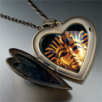 Necklace & Pendants - egyptian mummy tutankhamen photo italian large heart locket pendant necklace Image.
