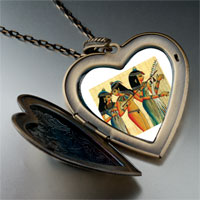 Necklace & Pendants - egyptian musicians photo italian large heart locket pendant necklace Image.