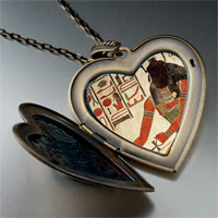 Necklace & Pendants - egyptian god khepri photo italian large heart locket pendant necklace Image.
