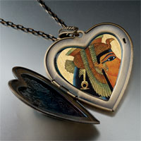Necklace & Pendants - egyptian queen cleopatra photo italian large heart locket pendant necklace Image.