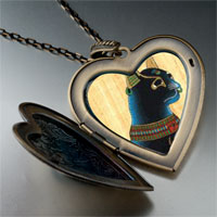 Necklace & Pendants - egyptian bastet cat photo italian large heart locket pendant necklace Image.