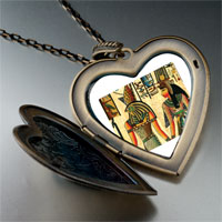 Necklace & Pendants - egyptian horus nefertiti photo italian large heart locket pendant necklace Image.