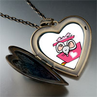 Necklace & Pendants - valentine' s day rat cartoon photo italian large heart locket pendant necklace Image.