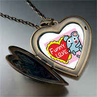 Necklace & Pendants - valentine' s day funny love mouse photo large heart locket pendant necklace Image.