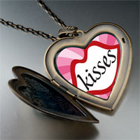 Necklace & Pendants - valentine' s day lip kisses photo large heart locket pendant necklace Image.