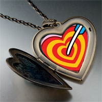Necklace & Pendants - valentine' s day cupid' s arrow heart photo large heart locket pendant necklace Image.