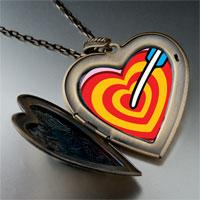 Necklace & Pendants - valentine' s day cupid' s arrow heart photo large heart locket pendant necklace Image.