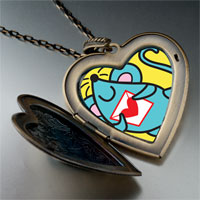 Necklace & Pendants - valentine' s day blue mouse photo large heart locket pendant necklace Image.