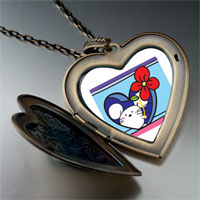 Necklace & Pendants - valentine' s day red rose mouse photo large heart locket pendant necklace Image.