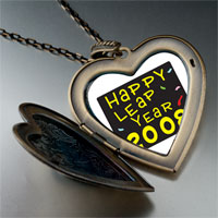 Necklace & Pendants - happy leap year photo large heart locket pendant necklace Image.