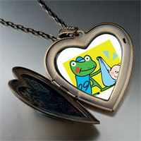 Necklace & Pendants - leap day frog stork photo large heart locket pendant necklace Image.