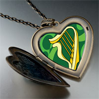 Necklace & Pendants - patrick' s day theme photo heart flower heart locket pendant celtic harp gifts for women necklace Image.