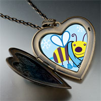 Necklace & Pendants - cartoon theme photo heart flower heart locket pendant bee cool gifts for women necklace Image.