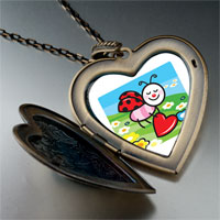 Necklace & Pendants - cartoon theme photo heart flower heart locket pendant little lady bug easter gifts for women necklace Image.