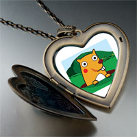 Necklace & Pendants - cartoon theme photo heart flower heart locket pendant groundhog day easter gifts for women necklace Image.