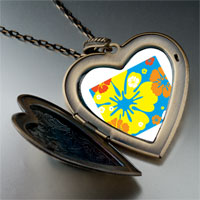 Necklace & Pendants - yellow orange flower large heart locket pendant necklace Image.