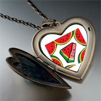 Necklace & Pendants - food watermelon photo large heart locket pendant necklace Image.