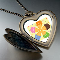 Necklace & Pendants - pink orange blue green flower large heart locket pendant necklace Image.