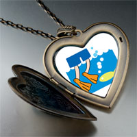 Necklace & Pendants - animal swimming fish photo large heart locket pendant necklace Image.