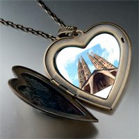 Necklace & Pendants - landmark gothic architecture photo large heart locket pendant necklace Image.