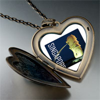 Necklace & Pendants - travel merlion photo large heart locket pendant necklace Image.