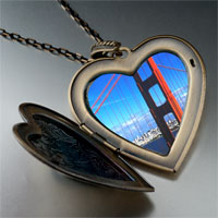 Necklace & Pendants - travel golden gate bridge photo large heart locket pendant necklace Image.