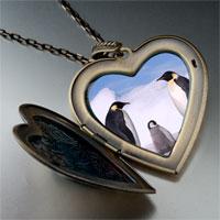 Necklace & Pendants - animal penguin antarctica photo large heart locket pendant necklace Image.