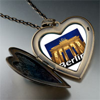 Necklace & Pendants - travel brandenburg gate photo large heart locket pendant necklace Image.