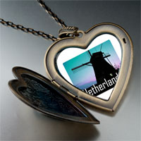 Necklace & Pendants - travel windmill netherlands photo large heart locket pendant necklace Image.