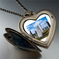 Necklace & Pendants - travel callanish standing stones photo large heart locket pendant necklace Image.