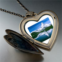 Necklace & Pendants - travel matterhorn photo large heart locket pendant necklace Image.