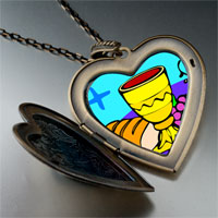 Necklace & Pendants - religion bread &  wine photo large heart locket pendant necklace Image.