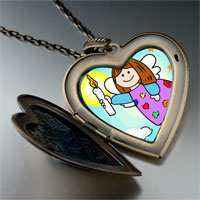 Necklace & Pendants - religion angel &  candle large heart locket pendant necklace Image.