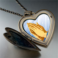 Necklace & Pendants - religion praying hands photo large heart locket pendant necklace Image.