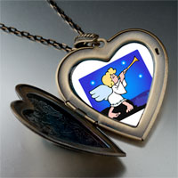 Necklace & Pendants - religion angel &  horn photo large heart locket pendant necklace Image.