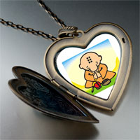 Necklace & Pendants - religion buddhism little monk photo large heart locket pendant necklace Image.