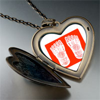 Necklace & Pendants - religion buddhism footprint photo large heart locket pendant necklace Image.