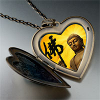 Necklace & Pendants - religion holy buddha photo large heart locket pendant necklace Image.