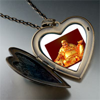 Necklace & Pendants - religion huge buddha figure photo large heart locket pendant necklace Image.